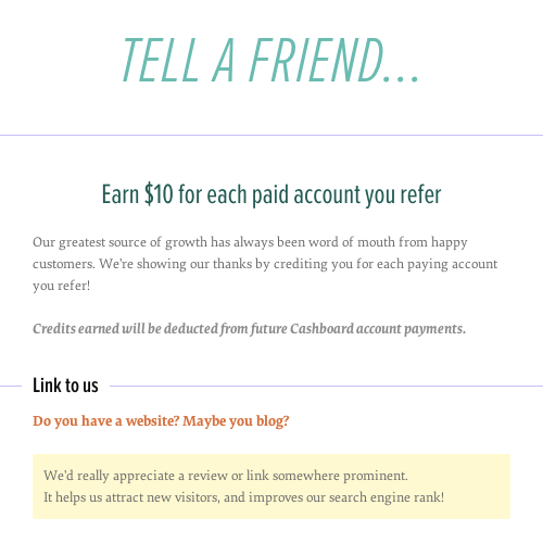 Cashboard referral program