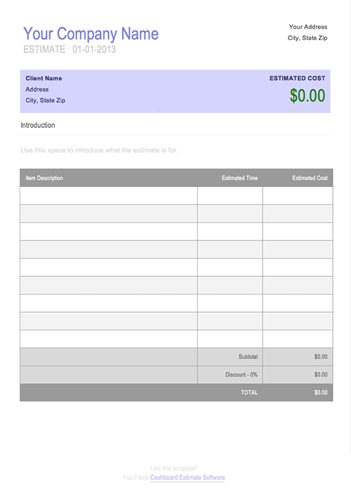 Job Estimate Template Free for Microsoft Word – Estimate Invoice Template