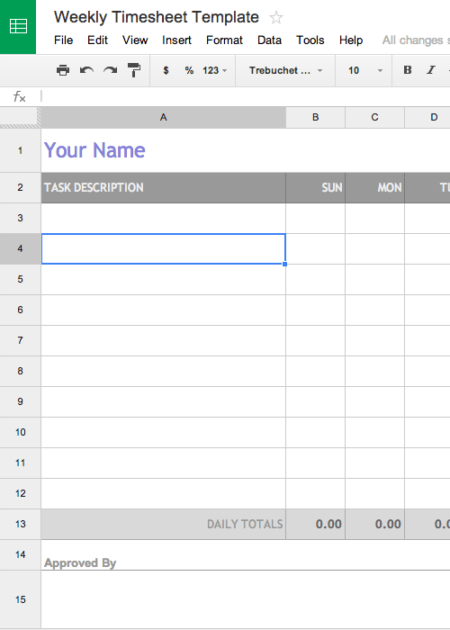 Free Weekly Timesheet Template for Google Docs - AKA Timecard or Time Card Template.