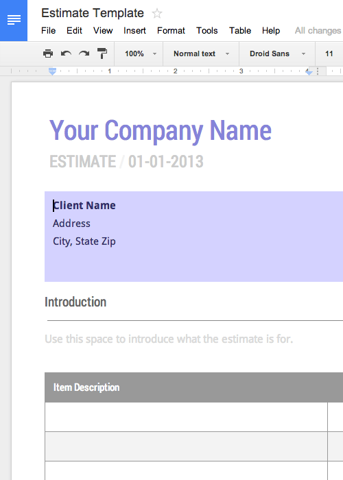 Work Estimate Template Free For Google Docs - Formal estimate template