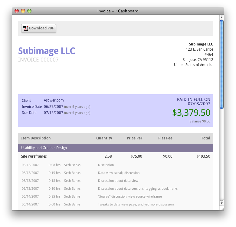 Customer Invoice Template PDF