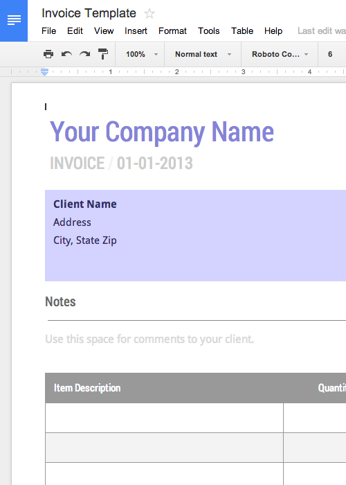 google sheet invoice template  Blank Invoice Template - Free for Google Docs